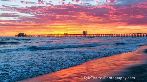 Oceanside-CA-Pier-Sunset-Red-Orange-Pink