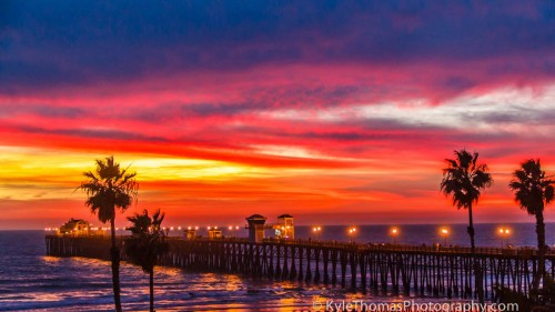 Amazing-Red-Purple-Orange-Beach-Pier-Sunset-Oceanside-CA