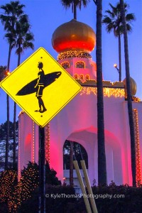 Swamis-Encinitas-Golden-Lotus-Tower-Surfer-Crossing-Kyle-Thomas-Photography