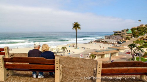Elderly-Couple-On-Bench-Moonlight-Beach-Encinitas-CA-Kyle-Thomas-Photography