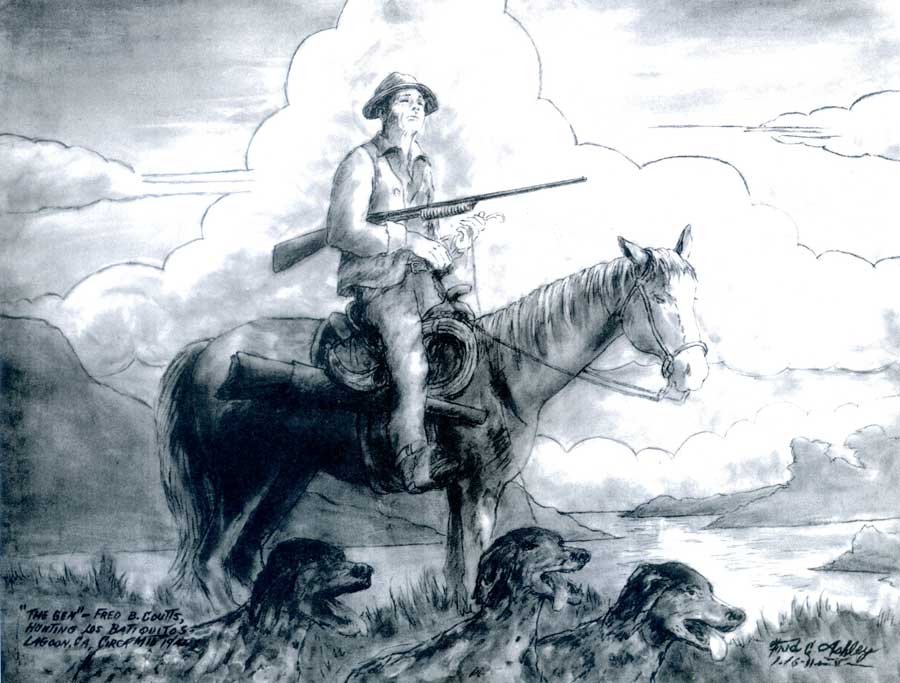 Drawing-by-Fred-Ashley-Grandfather-Fred-Coutts-1940-hunting-Los-Batiquitos-Lagoon-Carlsbad