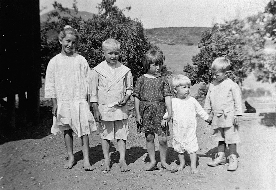 Barefoot - Taken on July 26, 1916.  From left is Alta, Emil, Mollie, William and George Bumann.  3666 Bumann road, Olivenhain, California.