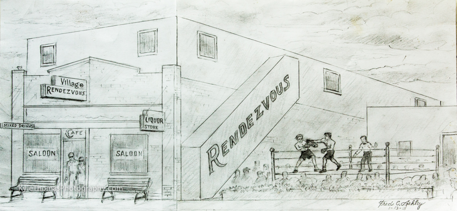 Fred-Ashley's-Sketch-Fight Between-his-Uncle-Sam-and-Bedford-Swain-at-The-Village-Rendezvous-c.-1939