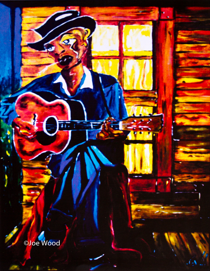 Original-Painting-by-Joe-Wood-Legendary-Blues-Guitarist-Robert-Johnson